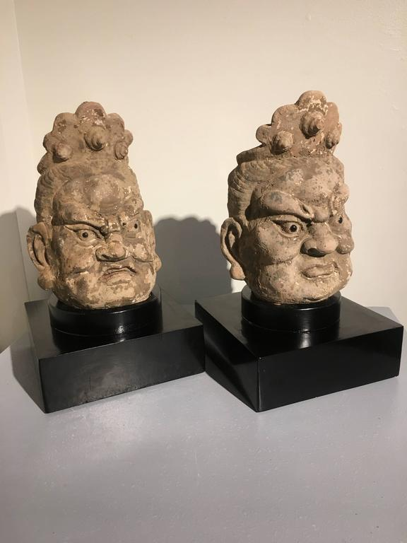 A powerfully sculpted pair of Ming dynasty stucco heads of guardian figures, called lokapalas. These larger than life sized figures would originally have stood as guardians on either side of a doorway in front of a Buddhist temple. They portray the