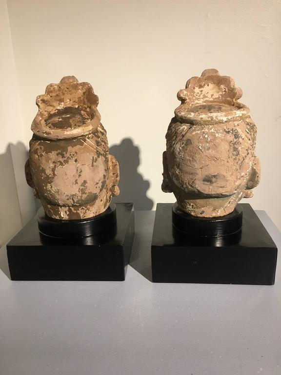 Glass Pair of Chinese Ming Dynasty Stucco Guardian Heads For Sale