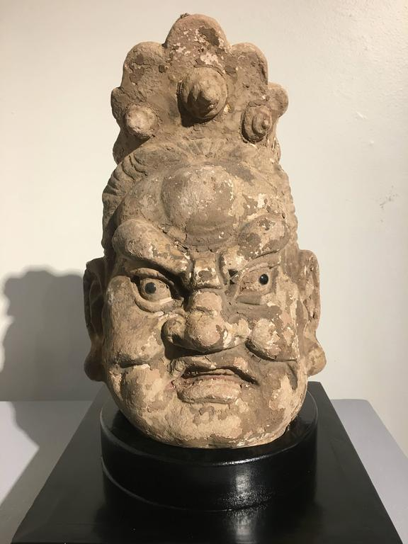 Pair of Chinese Ming Dynasty Stucco Guardian Heads For Sale 1
