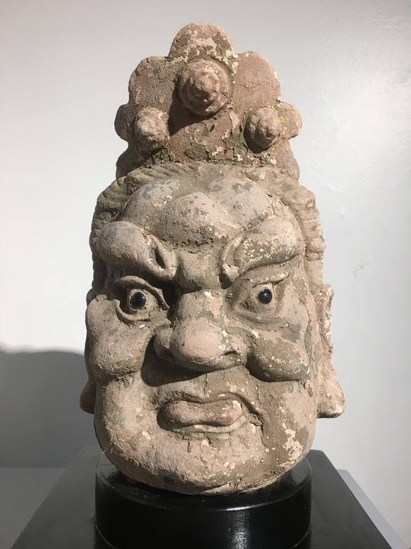 Pair of Chinese Ming Dynasty Stucco Guardian Heads For Sale 3