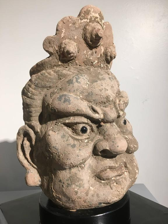 Pair of Chinese Ming Dynasty Stucco Guardian Heads For Sale 4