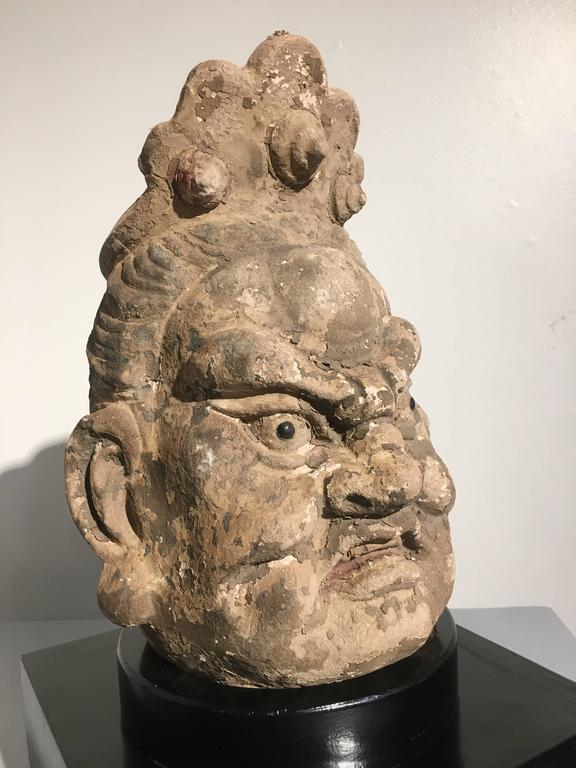 Pair of Chinese Ming Dynasty Stucco Guardian Heads For Sale 2