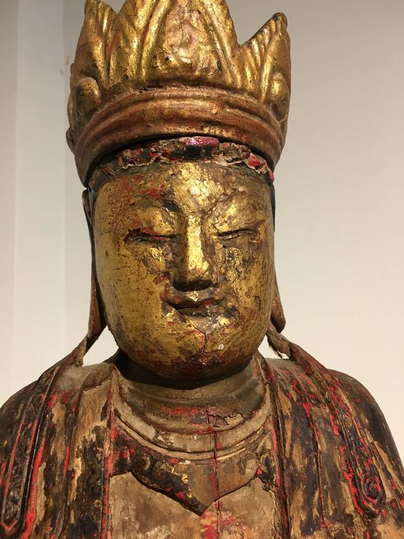 Chinese Ming Dynasty Carved, Painted and Giltwood Amitayus Buddha For Sale 2