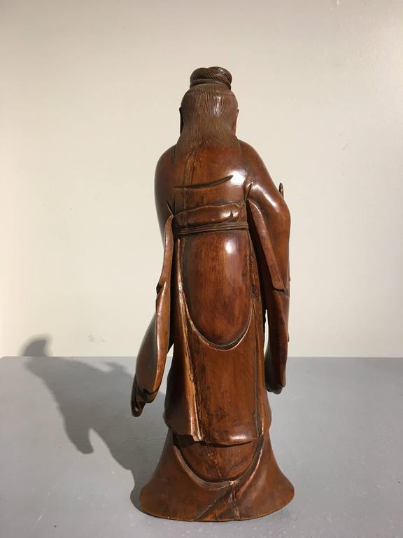 Chinese carved boxwood figure of guanyin mid qing dynasty