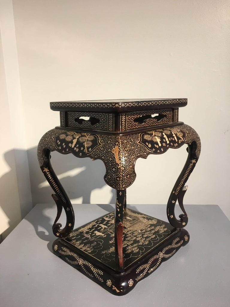 Japanese Showa Era Mother Of Pearl Inlaid Side Table For