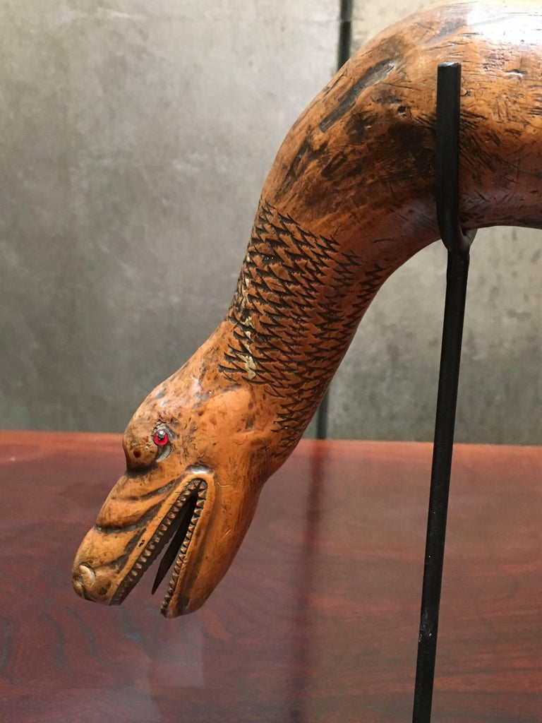 American Folk Art Snake and Wood Spirits Walking Stick, Early 20th Century In Good Condition For Sale In Austin, TX