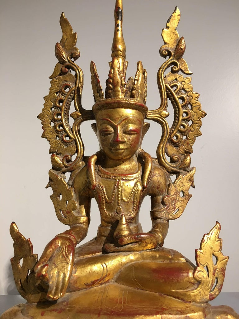 Burmese Arakan Lacquered and Gilt Bronze Healing Buddha, 18th Century For Sale 3