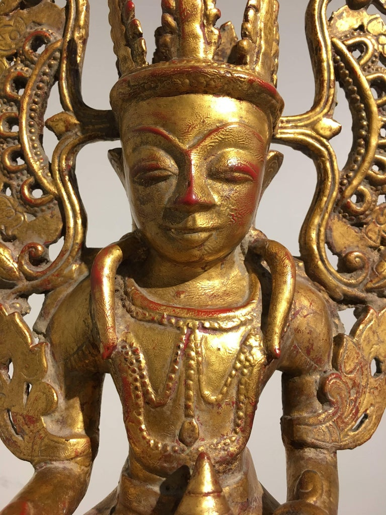 Burmese Arakan Lacquered and Gilt Bronze Healing Buddha, 18th Century For Sale 4