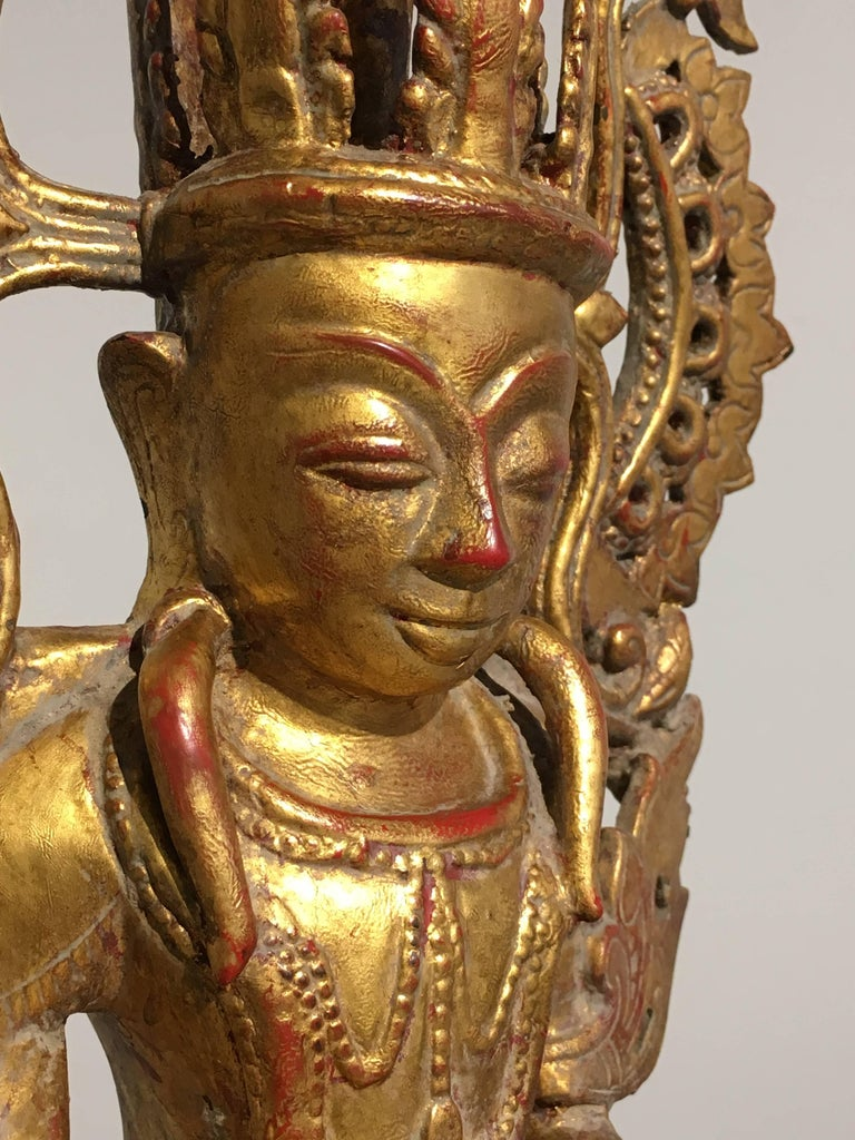 Burmese Arakan Lacquered and Gilt Bronze Healing Buddha, 18th Century For Sale 5