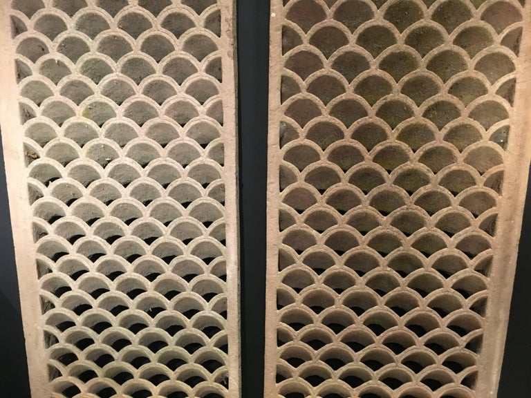 Hand-Carved Pair of Antique Indian Carved Sandstone Jali Window Screens, Madhya Pradesh For Sale