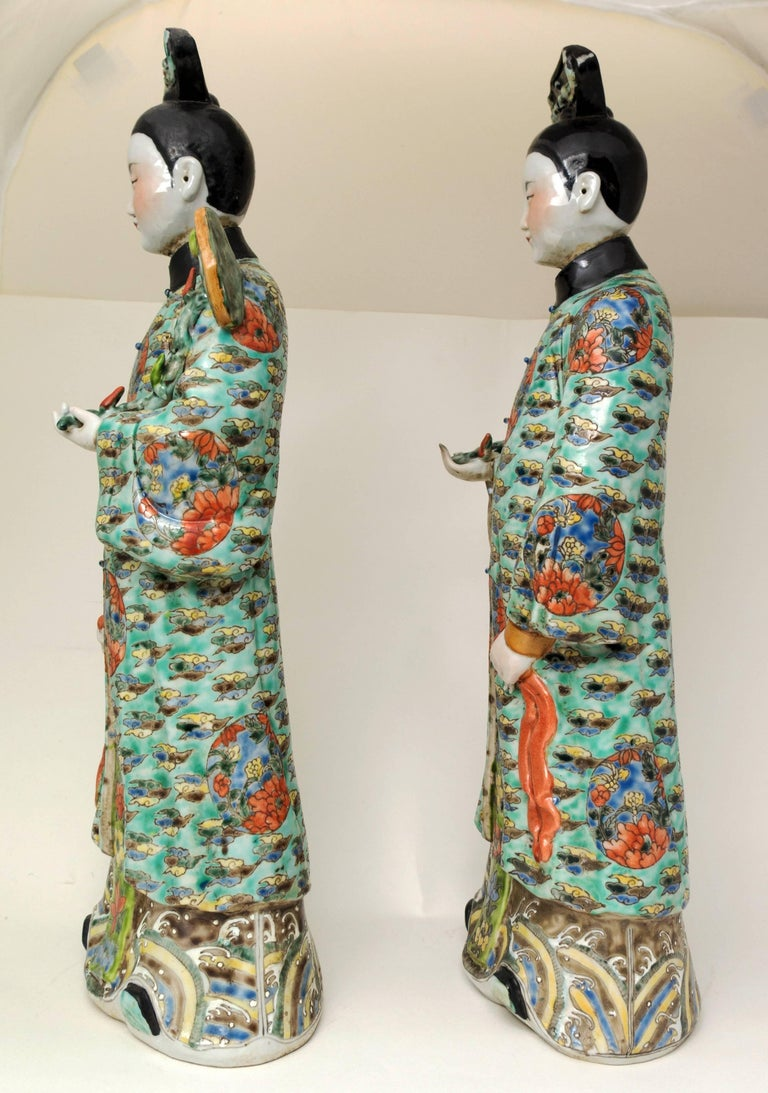Enameled Pair of Chinese Porcelain Nodding Sculpture of Court Ladies For Sale