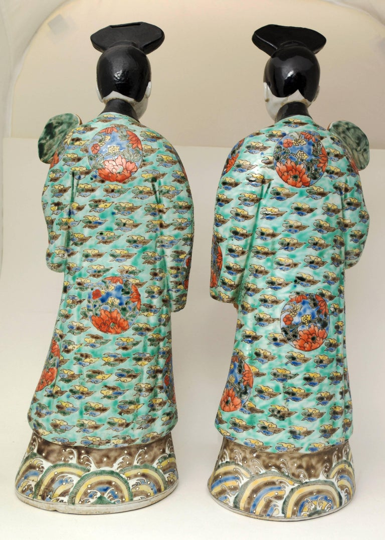 Chinoiserie Pair of Chinese Porcelain Nodding Sculpture of Court Ladies For Sale