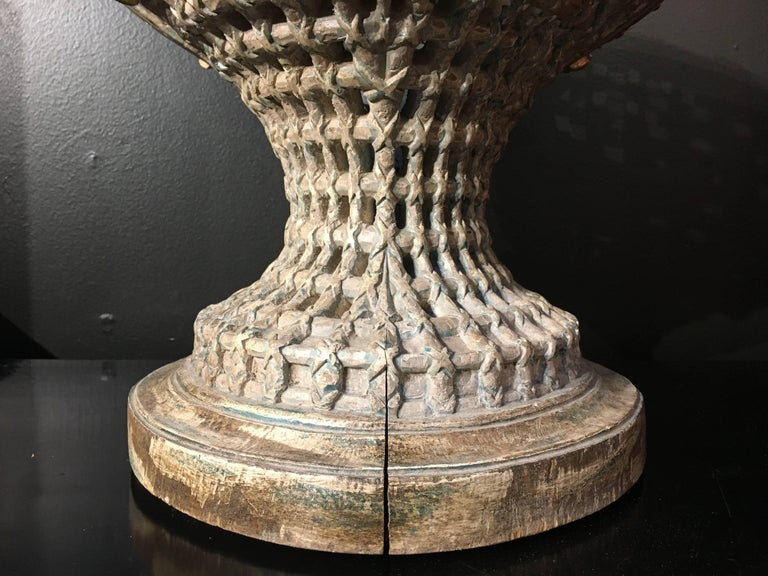 Italian Carved, Polychrome, Gilt Basket Form Centerpiece Jardiniere, circa 1900 For Sale 1