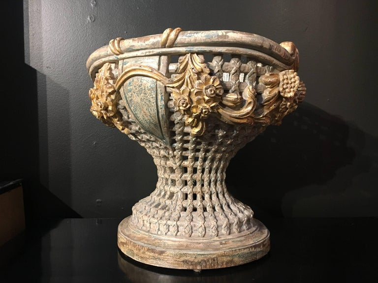 Empire Revival Italian Carved, Polychrome, Gilt Basket Form Centerpiece Jardiniere, circa 1900 For Sale