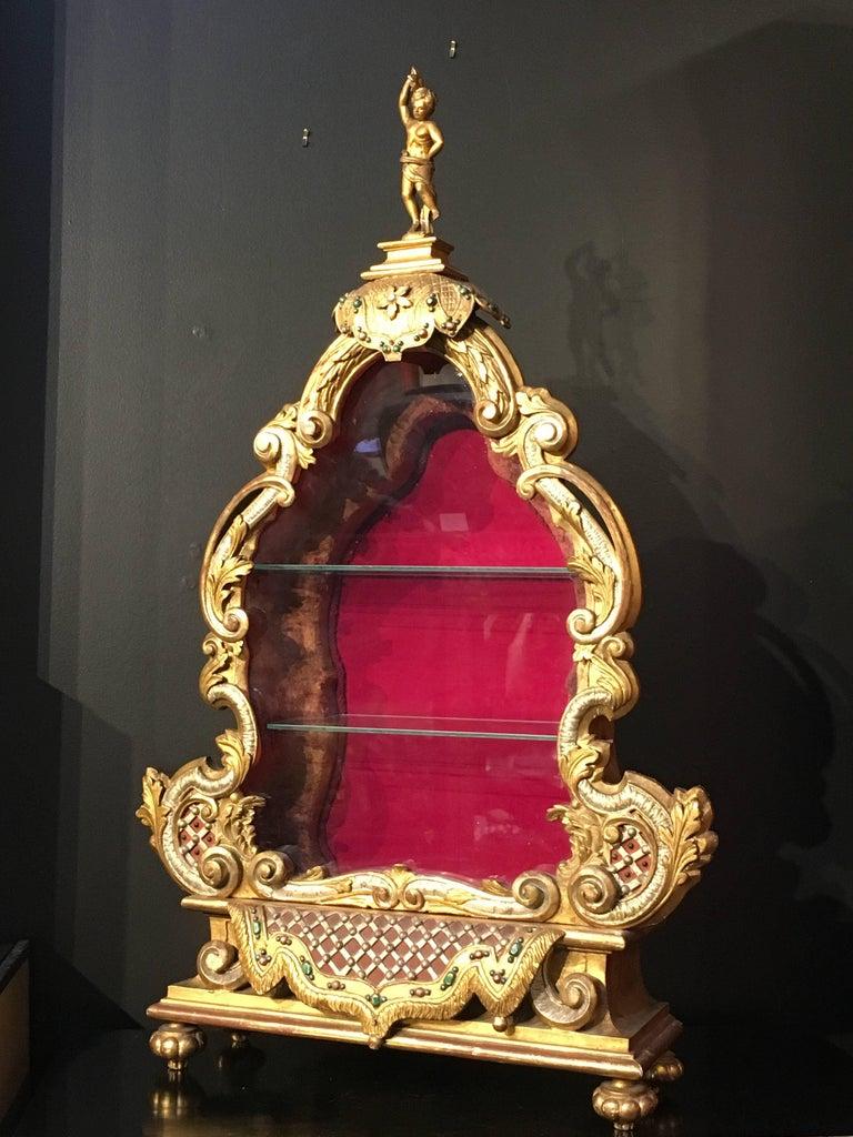Polychromed Late 19th Century Italian Baroque Revival Gilt and Polychrome Table Top Vitrine For Sale