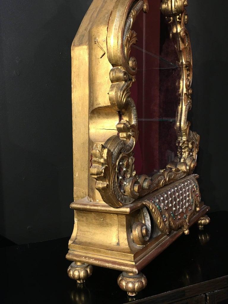 Late 19th Century Italian Baroque Revival Gilt and Polychrome Table Top Vitrine For Sale 2