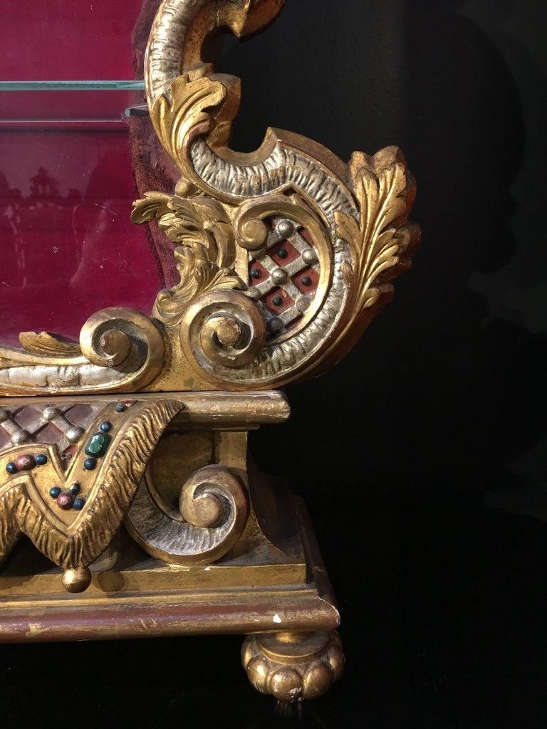 Late 19th Century Italian Baroque Revival Gilt and Polychrome Table Top Vitrine For Sale 5