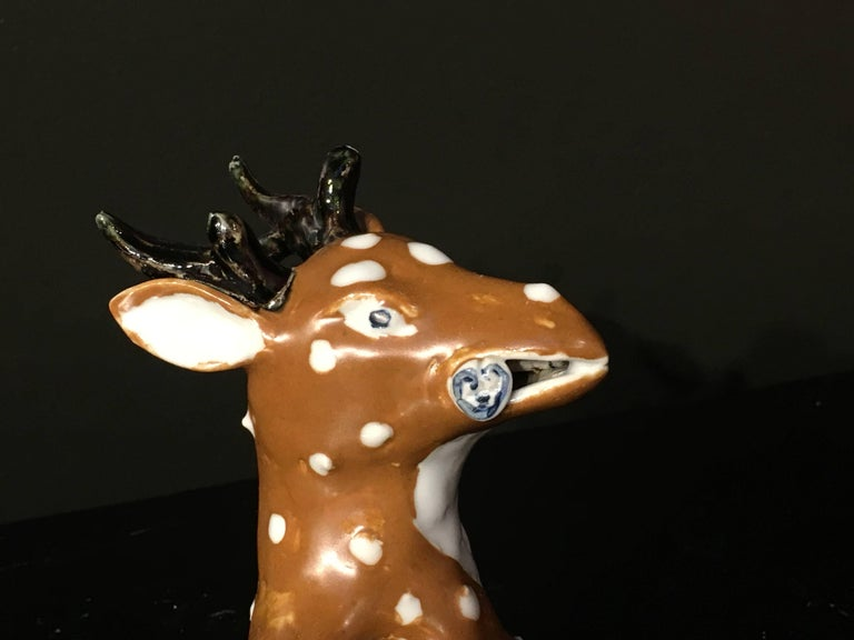 Chinese Qing Dynasty Porcelain Spotted Deer Brush Washer, Mid-19th Century For Sale 2