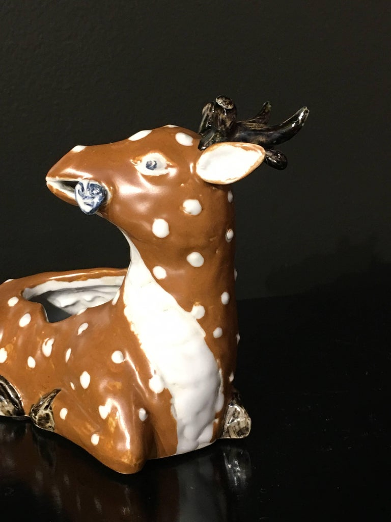 Chinese Qing Dynasty Porcelain Spotted Deer Brush Washer, Mid-19th Century For Sale 1