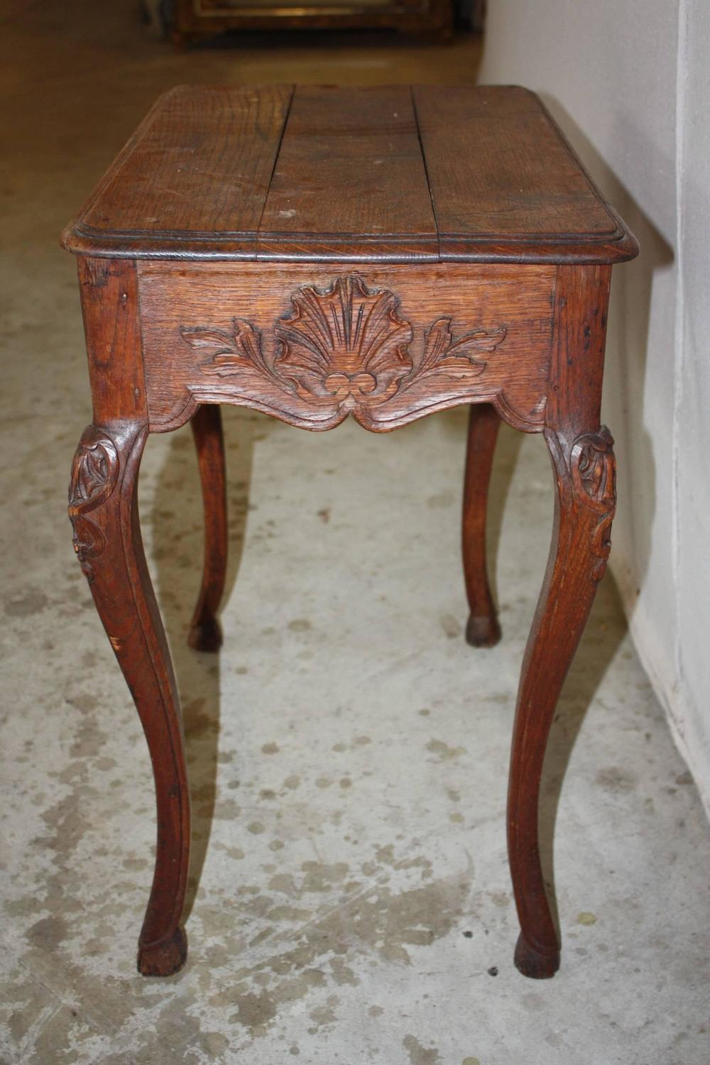 Petite French Oak Side Table with Drawer at 1stdibs