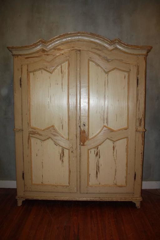 Large Late 19th Century Swedish Painted Wardrobe Cupboard