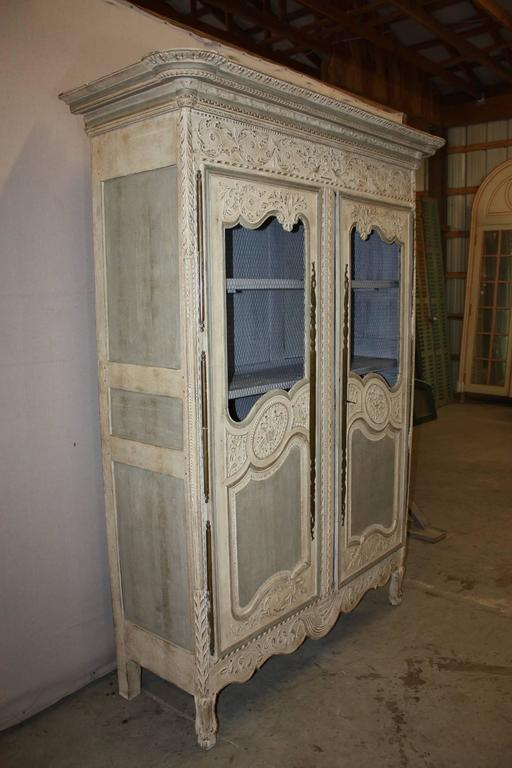 19th Century Louis Xv Period Armoire With Chicken Wire