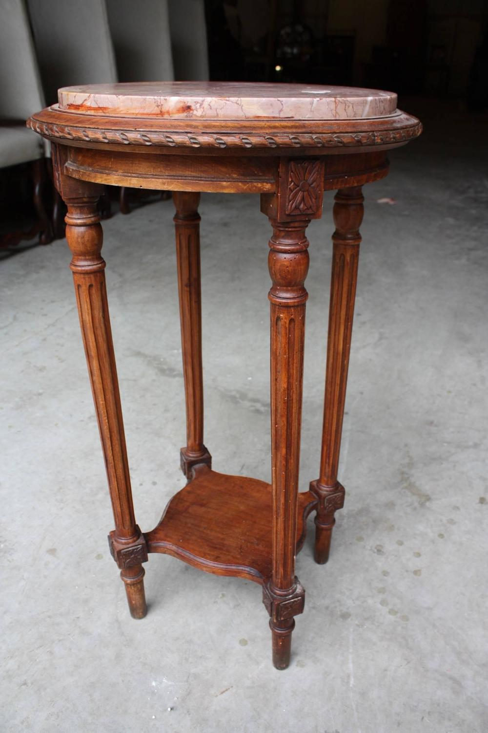 19th century french louis xvi round side table with marble for Round marble side table