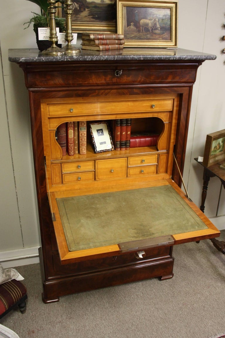 French Empire Style Flame Mahogany Wood Fall Front