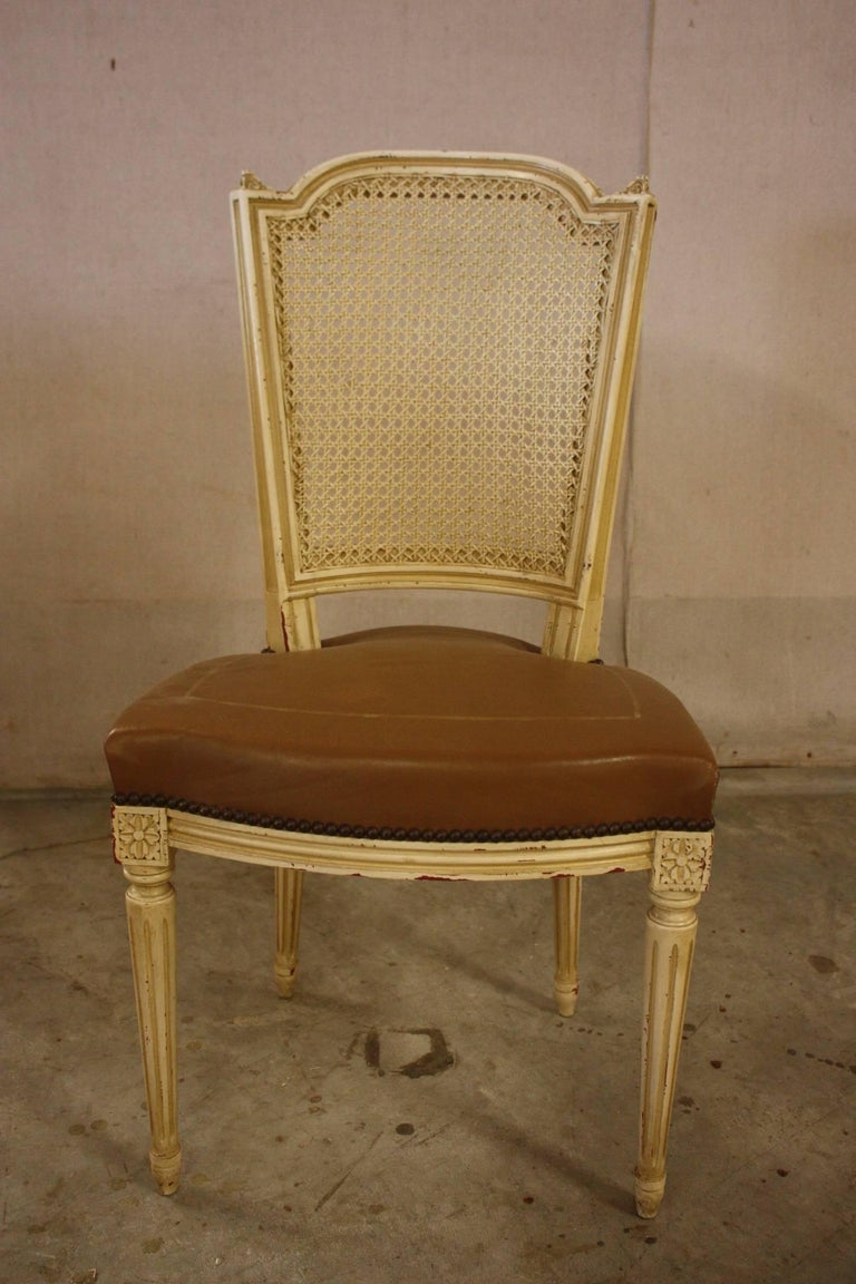 Set of Six French Louis XVI Style Chairs with Leather Seats and ...