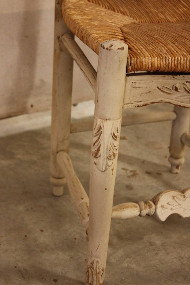 Set of Six French Painted Kitchen Dining Chairs with Rush Seats 3