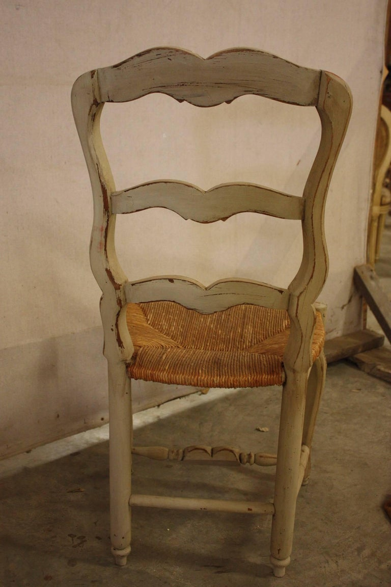 Set of Six French Painted Kitchen Dining Chairs with Rush Seats 6