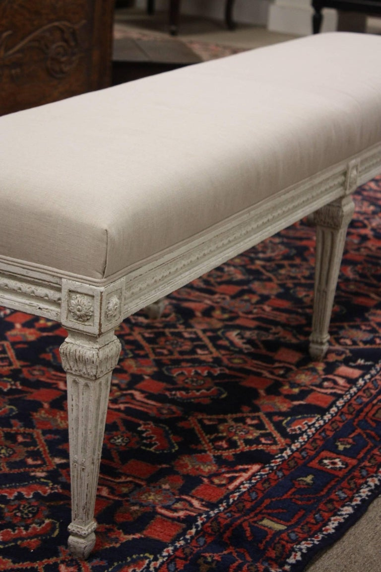 19th Century French Louis XVI Painted Bench. For Sale 1