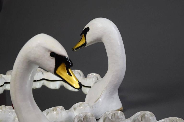 Pair of Glazed Stoneware Swan Mirrors by Gail Dooley 7