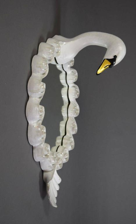 Pair of Glazed Stoneware Swan Mirrors by Gail Dooley 5