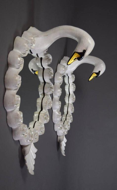 Pair of Glazed Stoneware Swan Mirrors by Gail Dooley 3
