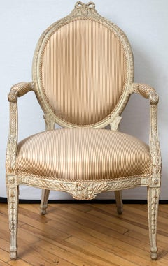18th Century English Carved and Painted Armchair