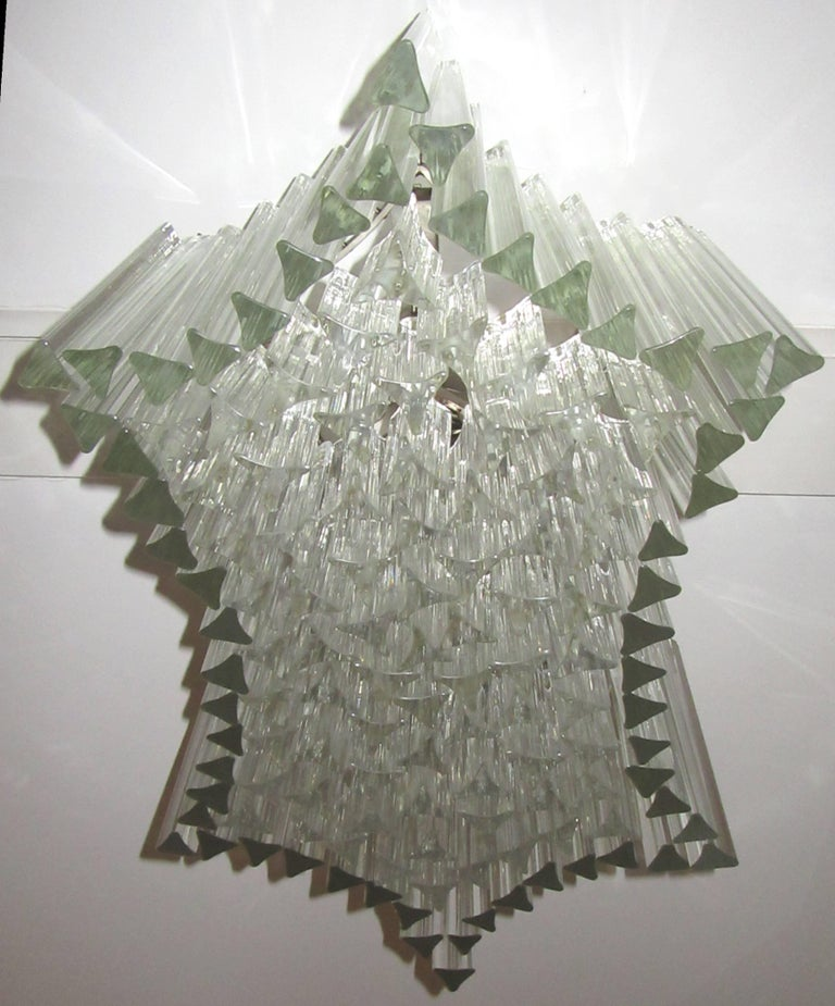 Italian Large Venini Triedri Glass Flush Mount Chandelier For Sale