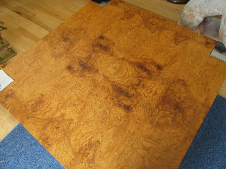 Modern Milo Baughman for Pace Burl and Chrome Coffee Table For Sale