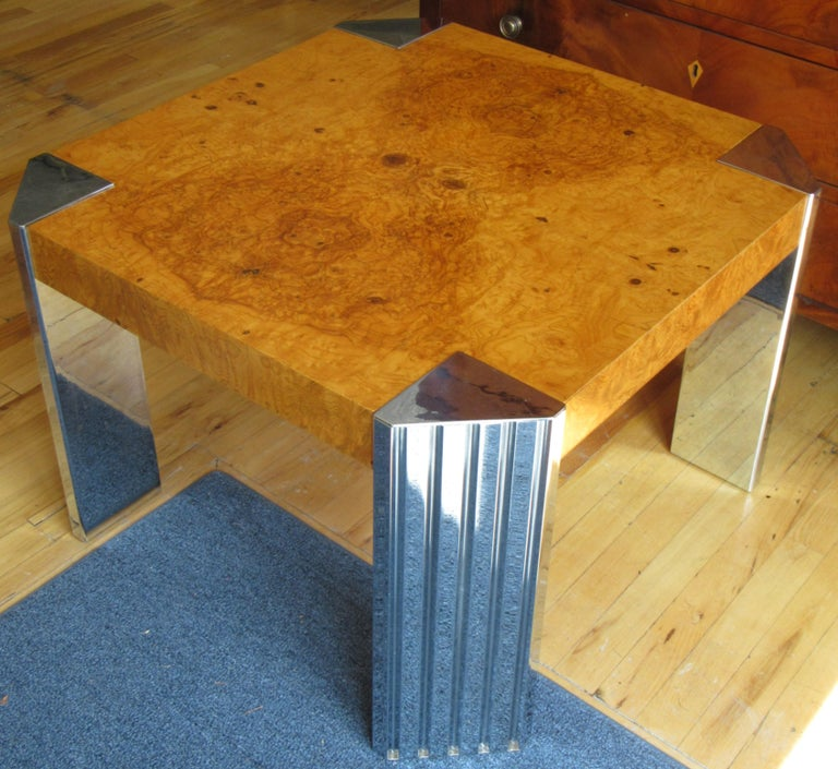 Modern Milo Baughman for Pace Burl and Chrome End Table For Sale