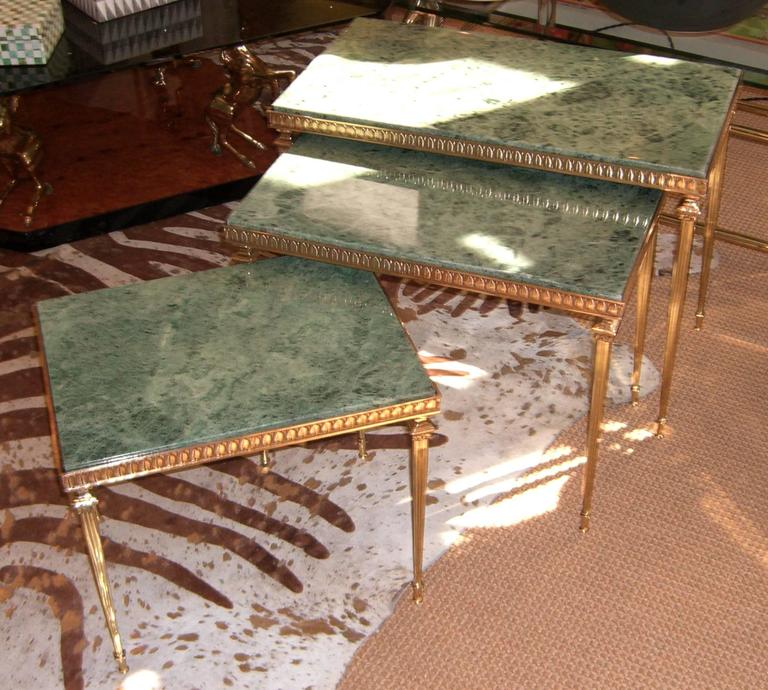 set of midcentury french br and marble nesting tables for sale ...