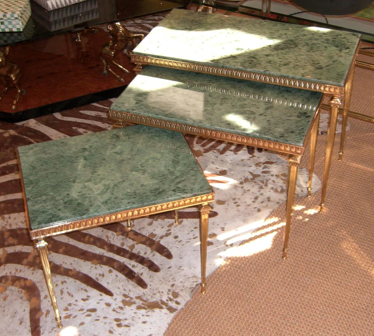 Set Of Midcentury French Brass And Marble Nesting Tables At 1stdibs. Full resolution  portraiture, nominally Width 1500 Height 1347 pixels, portraiture with #956036.