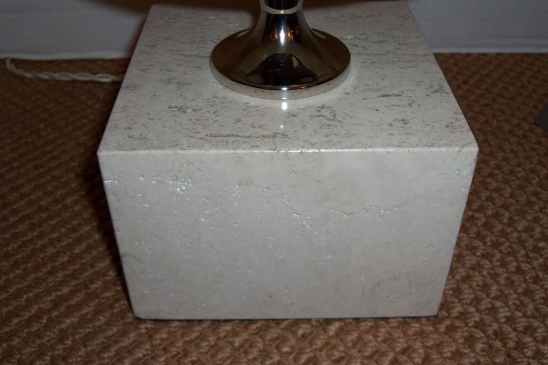 Modern 1970s Polished Travertine Phillipe Barbier Table Lamp For Sale
