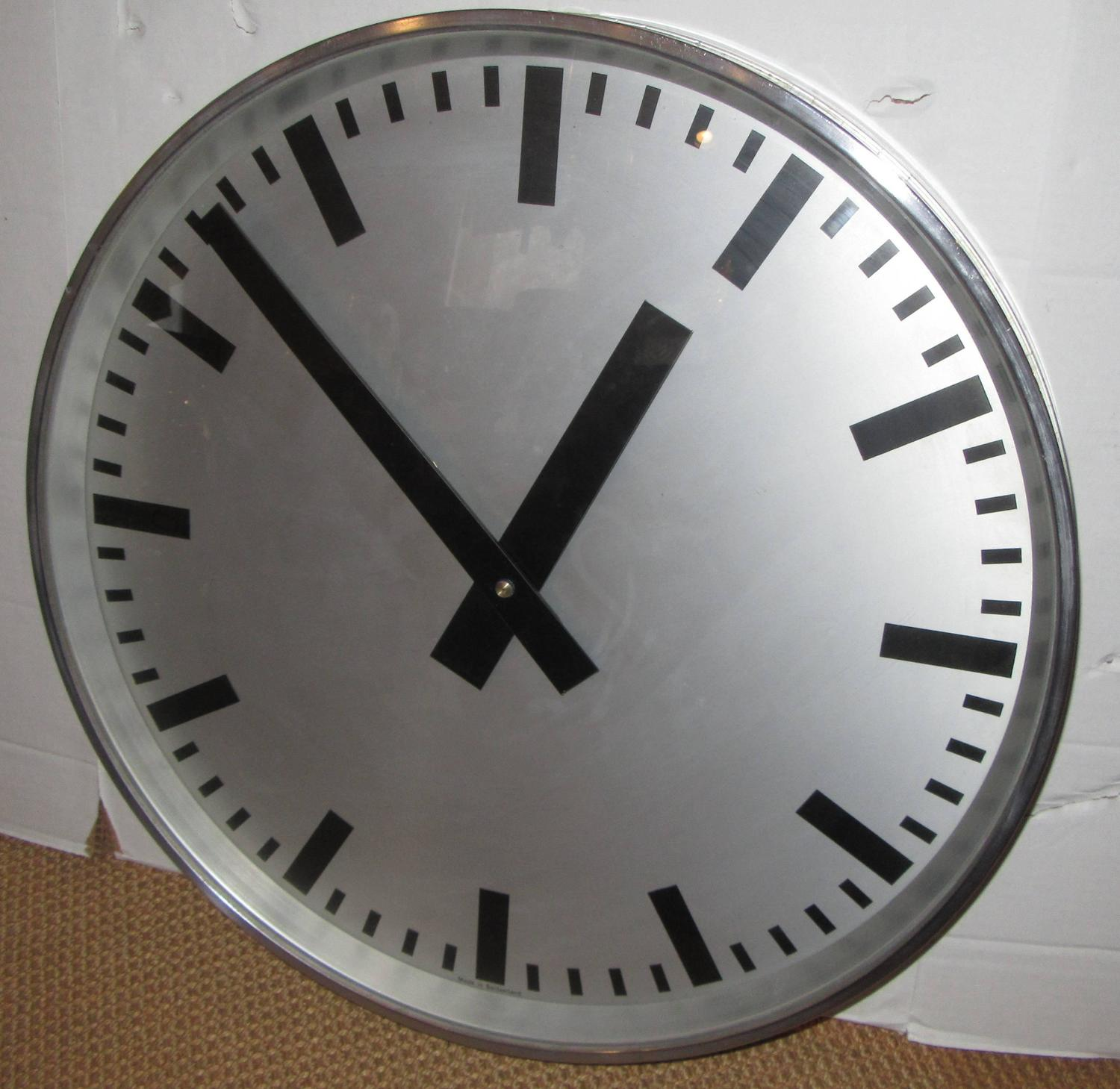 Large Swiss 1940s Industrial Wall Clock At 1stdibs