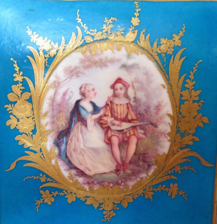 French Pair of Early Sevres Bleu Turquoise Caisses a Fleur Carrees For Sale