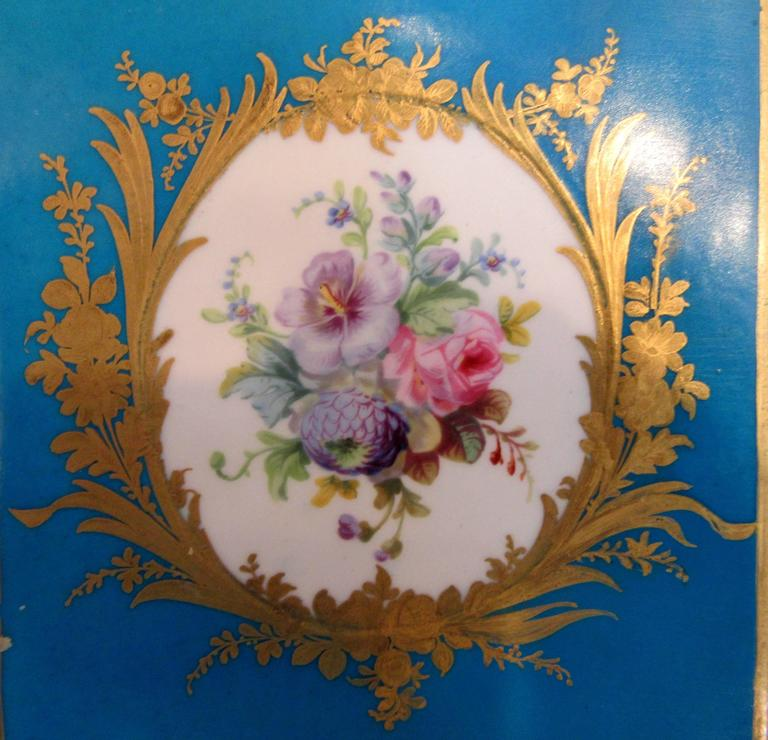18th Century Pair of Early Sevres Bleu Turquoise Caisses a Fleur Carrees For Sale