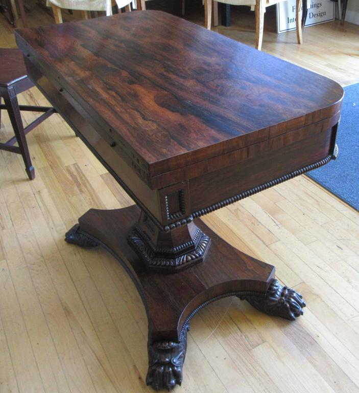 Pair of English Regency Period Rosewood Game Tables For Sale 1