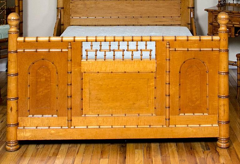 Late 19th Century Aesthetic Movement Faux Bamboo Full Bed by R. J. Horner & Co. For Sale