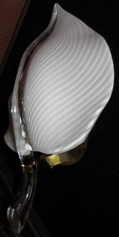Late 20th Century Pair of Murano Glass Leaf Form Wall Sconces For Sale
