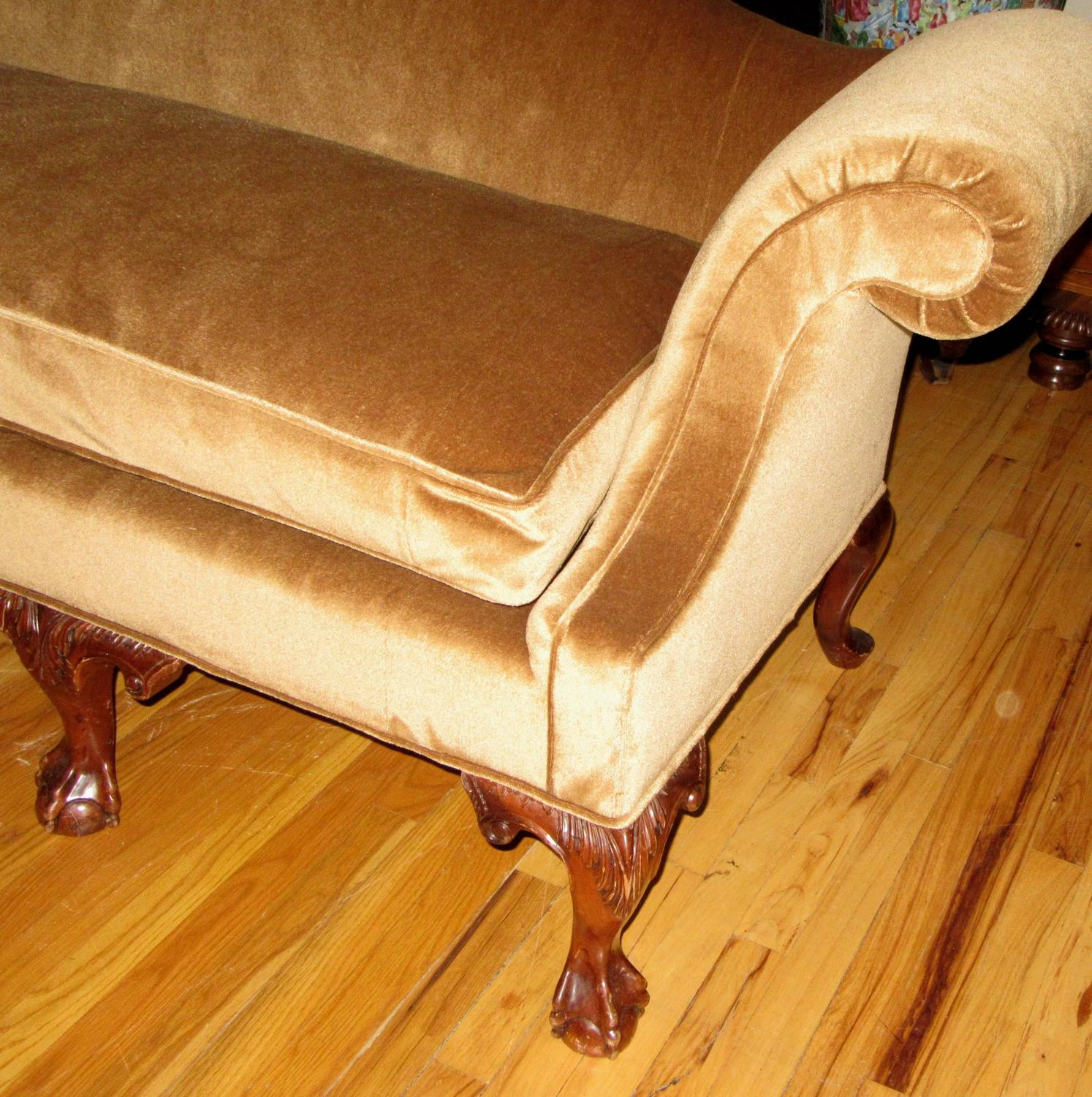 Philadelphia chippendale silk mohair and mahogany for Z furniture philadelphia