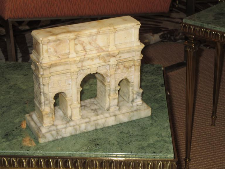 "Classical Roman ""Grand Tour"" Carved Alabaster Model of the Arch of Constantine For Sale"